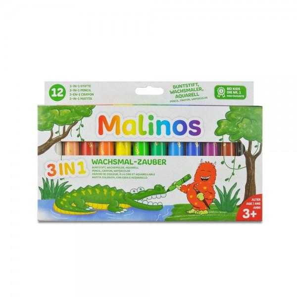 Malinos Wachsmal-Zauber 3in1 Aquarell Wachsmalstifte 12 Farben