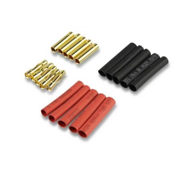 Amass 4,0mm Goldkontaktstecker Goldstecker + Schrumpfschlauch 10 Paar