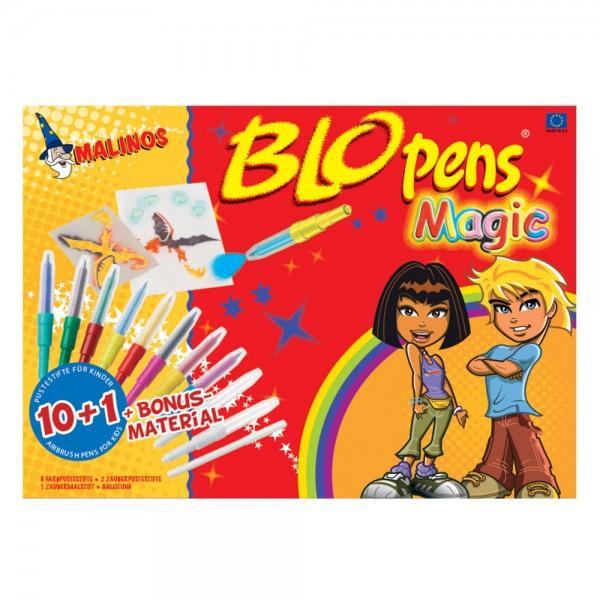 Malinos BloPens Magic Pustestifte 10+1 inkl. Schablonen & Papier auswaschbar
