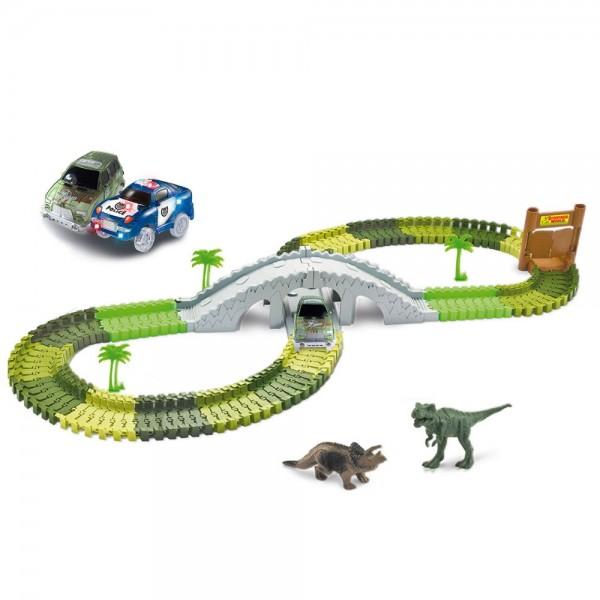Magic Traxx Kinder Rennbahn Dino Park 373 teilig inkl. Brücke