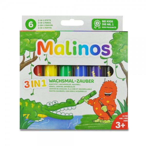 Malinos Wachsmal-Zauber 3in1 Aquarell Wachsmalstifte 6 Farben